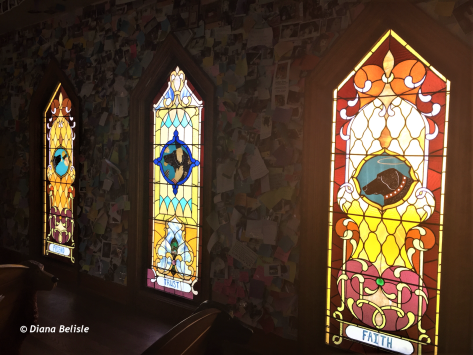 Stained glass windows in Dog Chapel, near St Johnsbury, VT
