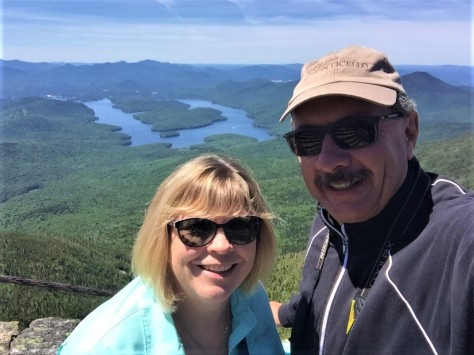 Diana and Jim on Whiteface Mountain, with Lake Placid in the background