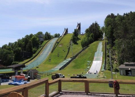 Lake Placid ski jumps from the new event center at the bottom